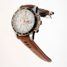 Chopard Miglia Working Chronograph Two Tone Case with White Dial-Leather Strap