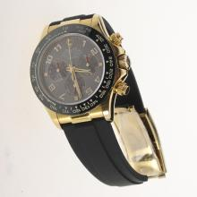 Rolex Daytona Chronograph Swiss Valjoux 7750 Movement Gold Case Ceramic Bezel Number Markers with Gray Dial-Rubber Strap