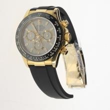 Rolex Daytona Chronograph Swiss Valjoux 7750 Movement Gold Case Ceramic Bezel Stick Markers with Gray Dial-Rubber Strap