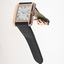 Cartier Tank MIYOTA 9015 Movement Rose Gold Case Roman Markers with White Dial-Leather Strap