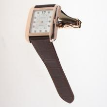 Cartier Tank Swiss ETA 2836 Movement Rose Gold Case Diamond Markers with White Dial-Leather Strap