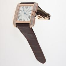Cartier Tank Swiss ETA 2836 Movement Rose Gold Case Diamond Bezel Roman Markers with White Dial-Leather Strap