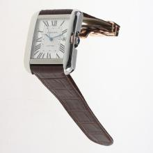 Cartier Tank Swiss ETA 2836 Movement Roman Markers with White Dial-Leather Strap