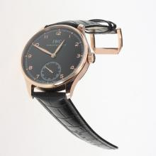 IWC Portuguese Manual Winding Rose Gold Case with Black Dial-Leather Strap