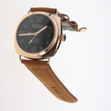 Panerai Radiomir 10 Days Automatic Power Reserve Working Rose Gold Case with Black Dial-Brown Leather Strap