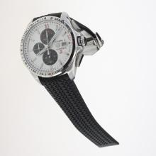 Tag Heuer Carrera Calibre 16 Working Chronograph with White Dial-Rubber Strap