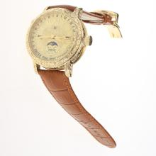 Patek Philippe Grande Complication Double-faced Watch Gold Case with Golden Dial-Leather Strap
