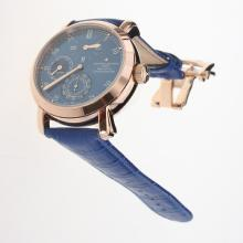 Vacheron Constantin 18K Plated Gold Automatic Movement Rose Gold Case with Blue Dial-Leather Strap