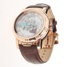Ulysse Nardin Automatic Rose Gold Case with White Dial-Leather Strap