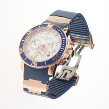 Ulysse Nardin Marine Diver Automatic Rose Gold Case with White Dial-Rubber Strap