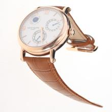 Patek Philippe Working Power Reserve Automatic Rose Gold Case with White Dial-Leather Strap