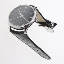 Jaeger-Lecoultre Master Control MIYOTA 9015 Automatic with Black Dial-Leather Strap