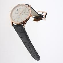 Jaeger-Lecoultre Master Control Working Power Reserve 41J Automatic Rose Gold Case with Silver Dial-Leather Strap