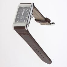 Jaeger-Lecoultre Reverso Stick Markers with Black Dial-Leather Strap-1