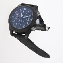 IWC Pilot Top Gun Working Chronograph PVD Case with Black Dial-Nylon Strap