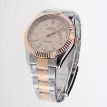 Rolex Datejust II Swiss ETA 2836 Movement Two Tone Stick Markers with Champagne Dial