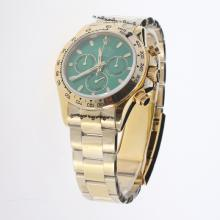 Rolex Daytona Chronograph Swiss Valjoux 7750 Movement Full Gold Stick Markers with Green Dial