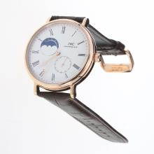 IWC Portofino Moonphase Automatic Rose Gold Case with White Dial-Leather Strap