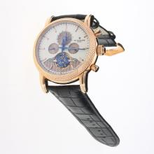 Patek Philippe Tourbillon Automatic Rose Gold Case with White Dial-Leather Strap