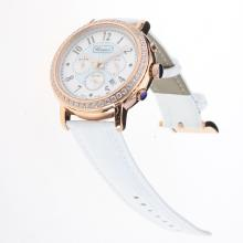 Chopard Imperiale Working Chronograph Rose Gold Case Diamond Bezel with Blue MOP Dial-White Leather Strap