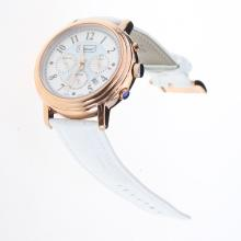 Chopard Imperiale Working Chronograph Rose Gold Case with Blue MOP Dial-White Leather Strap