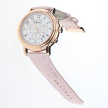 Chopard Imperiale Working Chronograph Rose Gold Case with Pink MOP Dial-Pink Leather Strap