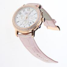 Chopard Imperiale Working Chronograph Rose Gold Case Diamond Bezel with MOP Dial-Pink Leather Strap