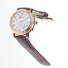 Chopard Imperiale Working Chronograph Rose Gold Case with MOP Dial-Purple Leather Strap