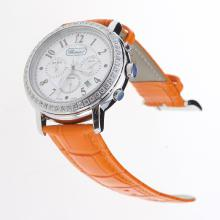 Chopard Imperiale Working Chronograph Diamond Bezel with MOP Dial-Orange Leather Strap