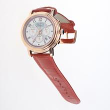 Chopard Imperiale Working Chronograph Rose Gold Case with Purple MOP Dial-Red Leather Strap