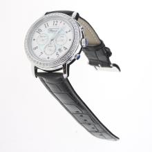 Chopard Imperiale Working Chronograph Diamond Bezel with Blue MOP Dial-Black Leather Strap