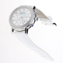 Chopard Imperiale Working Chronograph Diamond Bezel with Blue MOP Dial-White Leather Strap