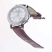 Chopard Imperiale Working Chronograph Diamond Bezel with Purple MOP Dial-Purple Leather Strap