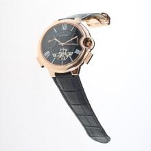 Cartier Ballon bleu de Cartier Tourbillon 27J Automatic Rose Gold Case with Black Dial-Leather Strap