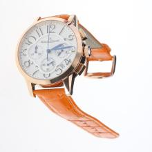 Jaeger-Lecoultre Rendez-Vous Working Chronograph Rose Gold Case with White Dial-Orange Leather Strap