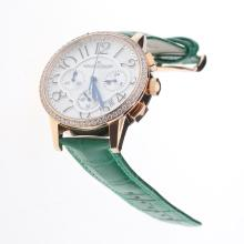 Jaeger-Lecoultre Rendez-Vous Working Chronograph Rose Gold Case Diamond Bezel with White Dial-Green Leather Strap