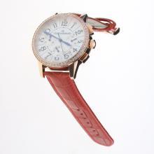 Jaeger-Lecoultre Rendez-Vous Working Chronograph Rose Gold Case Diamond Bezel with MOP Dial-Red Leather Strap
