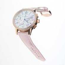 Jaeger-Lecoultre Rendez-Vous Working Chronograph Rose Gold Case Diamond Bezel with MOP Dial-Pink Leather Strap