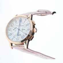Jaeger-Lecoultre Rendez-Vous Working Chronograph Rose Gold Case with MOP Dial-Pink Leather Strap