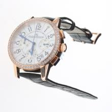 Jaeger-Lecoultre Rendez-Vous Working Chronograph Rose Gold Case Diamond Bezel with MOP Dial-Black Leather Strap