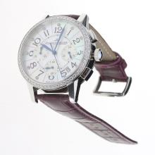 Jaeger-Lecoultre Rendez-Vous Working Chronograph Diamond Bezel with MOP Dial-Purple Leather Strap