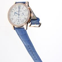 Jaeger-Lecoultre Rendez-Vous Working Chronograph Rose Gold Case Diamond Bezel with White Dial-Blue Leather Strap