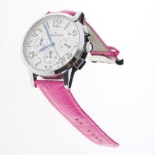 Jaeger-Lecoultre Rendez-Vous Working Chronograph with White Dial-Peachblow Leather Strap