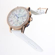 Jaeger-Lecoultre Rendez-Vous Working Chronograph Rose Gold Case Diamond Bezel with MOP Dial-White Leather Strap