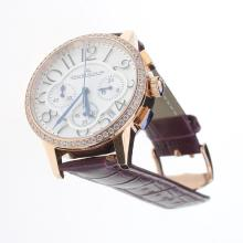 Jaeger-Lecoultre Rendez-Vous Working Chronograph Rose Gold Case Diamond Bezel with White Dial-Purple Leather Strap