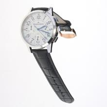 Jaeger-Lecoultre Rendez-Vous Working Chronograph with MOP Dial-Black Leather Strap