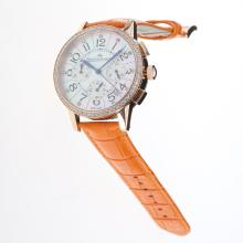 Jaeger-Lecoultre Rendez-Vous Working Chronograph Rose Gold Case Diamond Bezel with MOP Dial-Orange Leather Strap