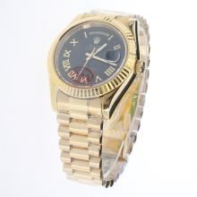 Rolex Day-Date II Automatic Full Gold Roman Markers with Black Dial