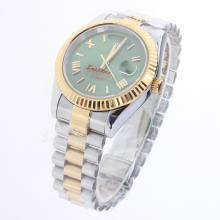 Rolex Day-Date II Automatic Two Tone Roman/Stick Markers with Green Dial