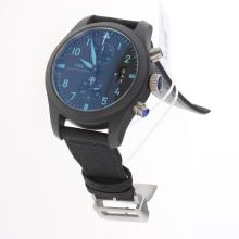 IWC Pilot Top Gun Chronograph Swiss Valjoux 7750 Movement Ceramic Case Blue Markers with Black Dial-Nylon Strap